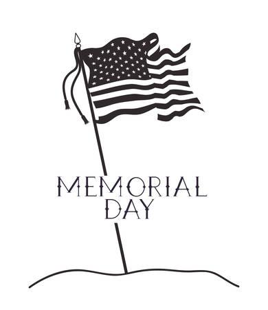usa flag of memorial day emblem vector illustration design