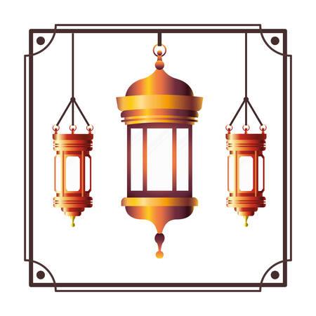 frame with ramadan kareem lantern hanging vector illustration design