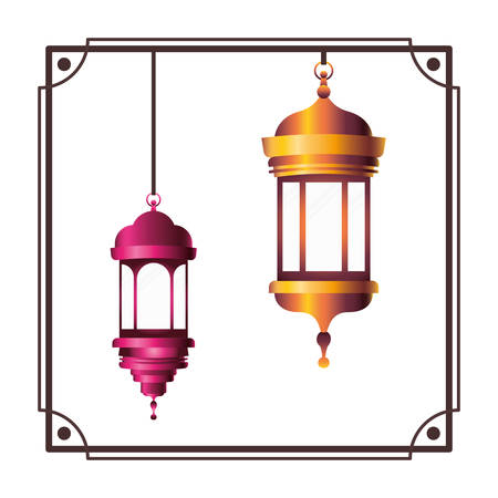 frame with ramadan kareem lantern hanging vector illustration design