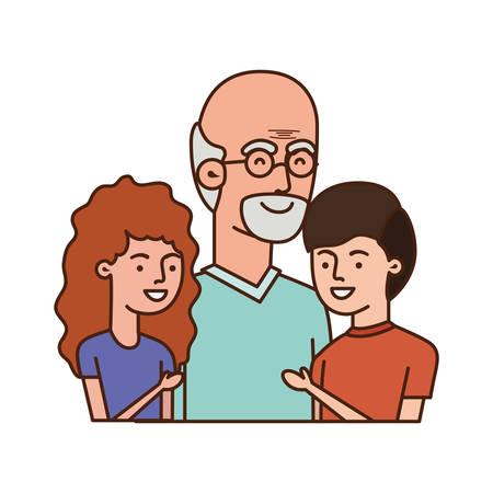 Großvater mit Kindern umarmt Avatar-Charakter-Vektor-Illustration-Design