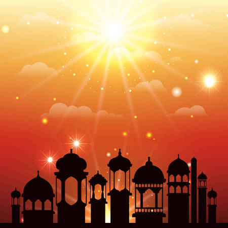 ramadan kareem cityscape silhouette scene vector illustration design 일러스트