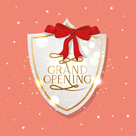 golden shield with ribbon and grand opening message vector illustration design