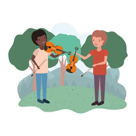 men with musical instruments in landscape vector illustration design