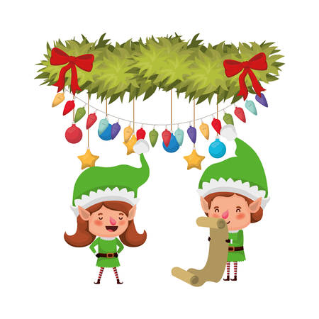 elves couple with list gifts and garland with christmas balls vector illustration design Illustration