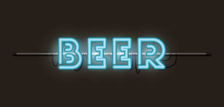 beer fonts neon lights vector illustration design