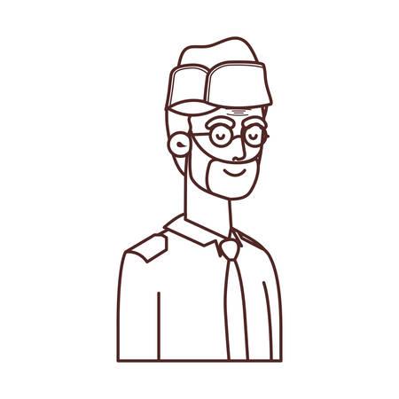 veteran war old man avatar character vector illustration design