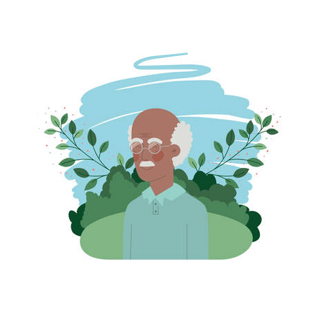 grandfather with landscape avatar character vector illustration design Illustration