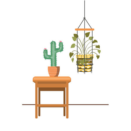 houseplants on macrame hangers and table vector illustration design