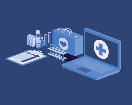 laptop telemedicine service with medical kit and drugs vector illustration design