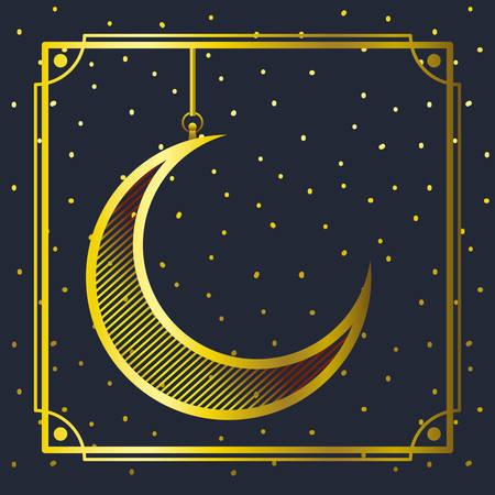 golden frame with moon crescent hanging vector illustration design Illustration