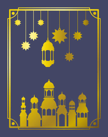 eid mubaray frame with mosque and lamps ,stars hanging vector illustration design