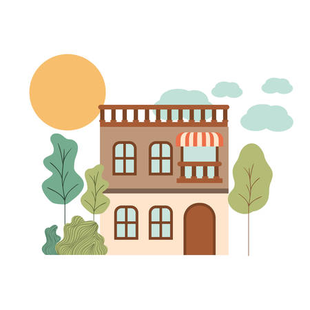 house with front view in landscape vector illustration design
