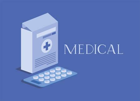 medicine box packing with pills vector illustration design