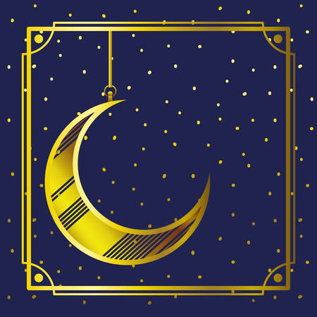 golden frame with moon crescent hanging vector illustration design Vettoriali