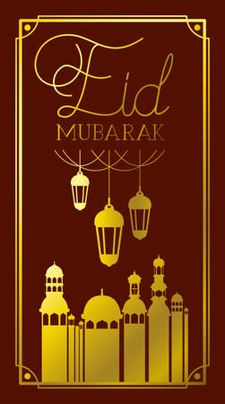 eid mubaray frame with mosque and lamps hanging vector illustration design