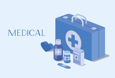 medical kit with medicine icons vector illustration design Иллюстрация