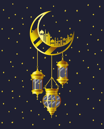 golden moon with mosque buildings and lamps hanging vector illustration design