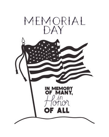 usa flag of memorial day emblem vector illustration design