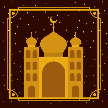 frame with golden mosque building with stars sky vector illustration design Фото со стока - 122749846
