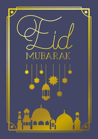 eid mubarak frame with mosque and lamps ,stars hanging vector illustration design