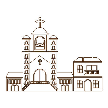 church with front view in landscape vector illustration design