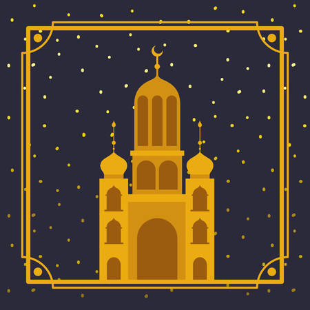 frame with golden mosque building vector illustration design