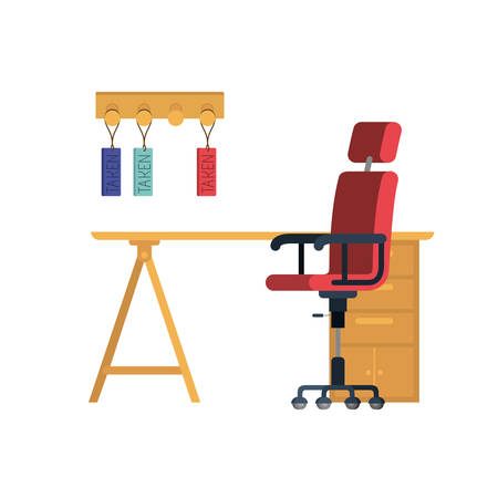 office desk with chair in white background vector illustration desing Illustration