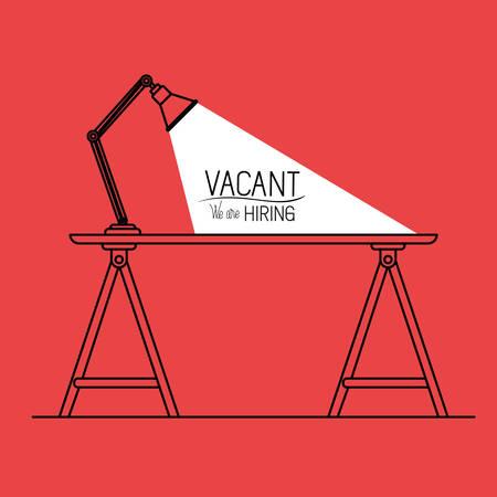 lamp desk with vacant message vector illustration design Illustration
