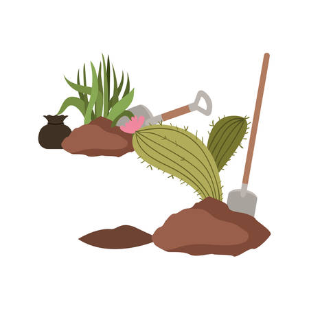cactus and tree to plant isolated icon vector illustration design Stock Illustratie