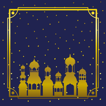 frame with golden mosque building with stars sky vector illustration design Ilustrace