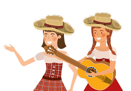 farmers women with musical instruments vector illustration design Ilustracja