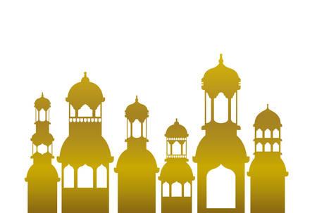 ramadan kareem mosque building icon vector illustration design