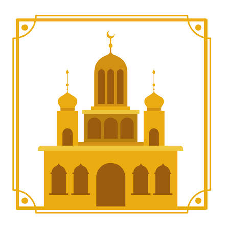 ramadan kareem mosque building icon vector illustration design