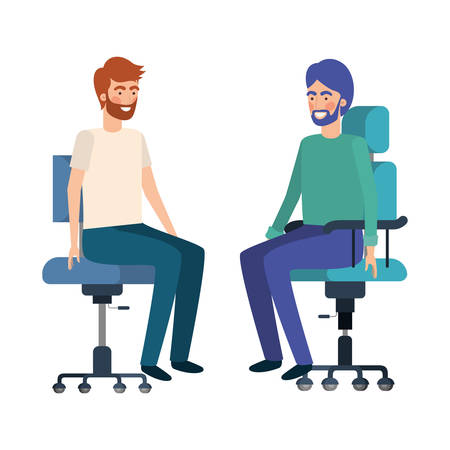 men with sitting in office chair avatar character vector illustration design Vectores
