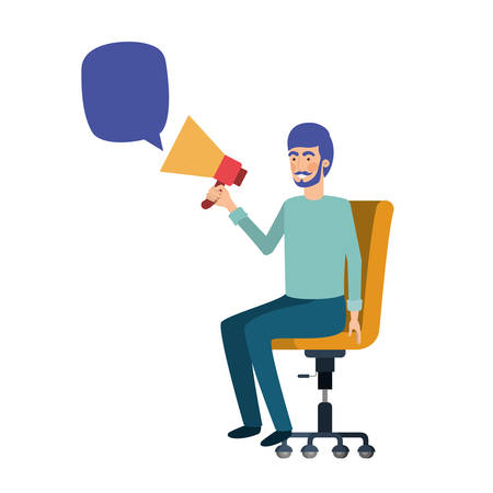 man with sitting in office chair and megaphone vector illustration design