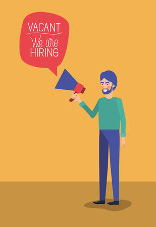 man using megaphone with we are hiring message vector illustration design 向量圖像