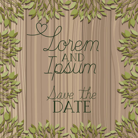 frame with leafs and save the date message in wooden background vector design Ilustracja