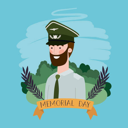 military man with uniform in the field vector illustration design 向量圖像