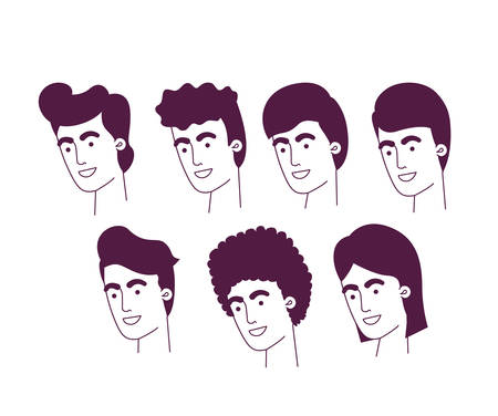 group of men heads characters vector illustration design