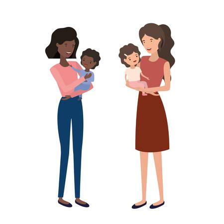 women with children avatar character vector illustration design Çizim