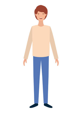 young man standing avatar character vector illustration design