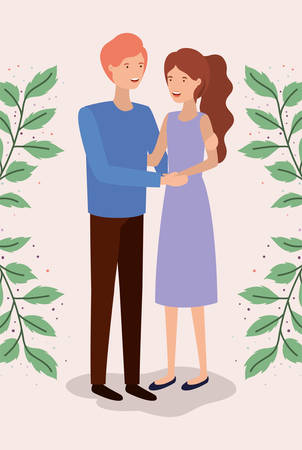 lovers couple with leafs crown characters vector illustration design