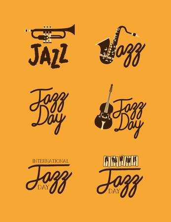 jazz day poster set of templates vector illustration design Çizim