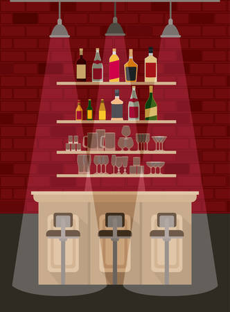 bar with bottles liquor scene vector illustration design