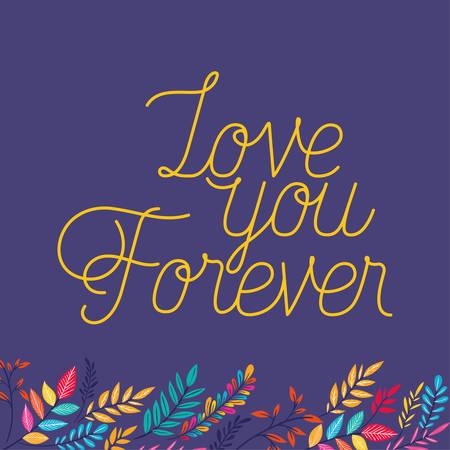 love romantic card with floral decoration vector illustration design Çizim