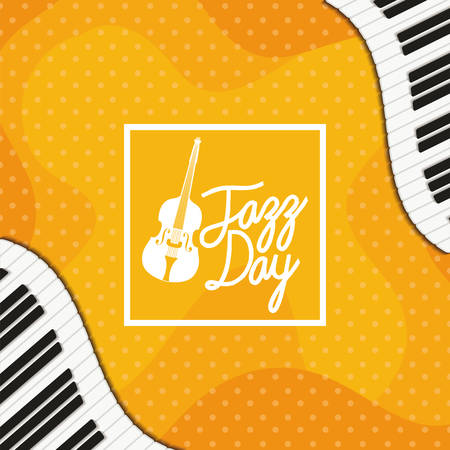 jazz day poster with piano keyboard and fiddle vector illustration design