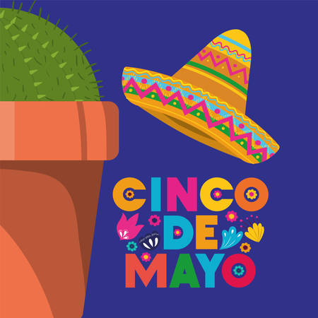 cinco de mayo card with cactus and hat vector illustration design