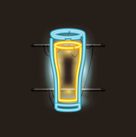 beer glass neon light vector illustration design  イラスト・ベクター素材