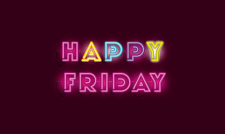 happy friday fonts neon lights vector illustration design