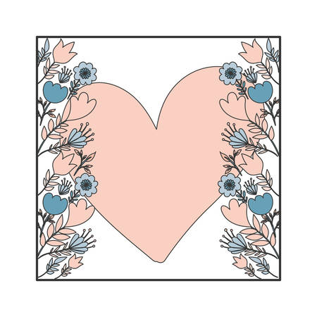 frame with flowers and leafs icon vector illustration design Çizim